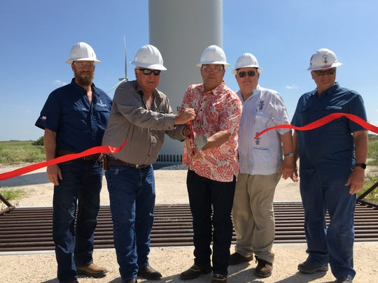 William Dieterele, Kenedy Memorial Foundation; Homero S. Vera, Kenedy Memorial Foundation; Joe Recio, Kenedy County Commissioner; Thomas G. Denney, Chief Appraiser for the Kenedy County Appraisal District; and Wes Childers, Stella Wind Site Supervisor for E.ON cut the ribbon to officially inaugurate the Stella Wind Farm in Kenedy County, Texas on Aug. 8, 2019. The site consists of 67 3 MW turbines built by Nordex. It came online in December 2018 and represents an investment of more than $200 million in the county.