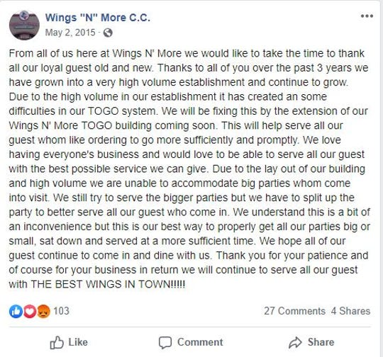 Wings 'N More announced its plans to build a to-go location in Corpus Christi on Facebook more than four years ago.