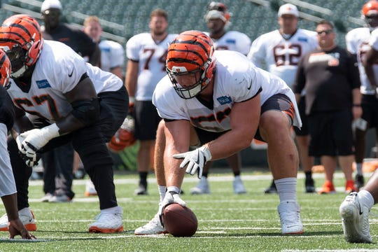 Bengals center Billy Price (53) prepares to snap the ball at Bengals training camp on Thursday, August 8, 2019 inside of Paul Brown Stadium