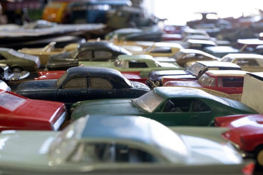 Toy cars are photographed at Rallye Motors in Reading, Ohio, on Thursday, Aug. 8, 2019.