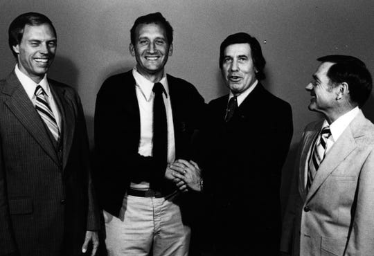 From the Enquirer archives scanned April 9, 2013 In 1980: Left, Haly Dyer, former scout for the Los Angeles Rams and Edmonton Muskies, and right, Charlie Winner, a former coach for the Cincinnati Bengals are amused as Gerry Faust, Moeller coach and Pat Mancuso, Princeton coach, shake hands at a pre-production meeting at the Warner Mex Studio Oct. 16. 1980: Left, Haly Dyer, former scout for the Los Angeles Rams and Edmonton Muskies, and right, Charlie Winner, a former coach for the Cincinnati Bengals are amused as Gerry Faust, Moeller coach and Pat Mancuso, Princeton coach, shake hands at a pre-production meeting at the Warner Mex Studio October 16th. The Moeller-Princeton game will be cable cast by Warner Amex beginning Friday, October 31, the evening of the game. Hal Dyer will announce the play by play for the game and Charlie Winner will provide expert commentary. From the Enquirer archives scanned April 9, 2013