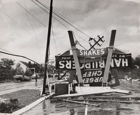 The Burger Chef sign on Galbraith Road was mangled in the tornado on Aug. 9, 1969.