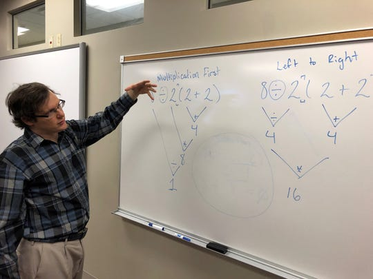 Professor James Church, a computer science teacher at Austin Peay State University explaining the actual answer to the viral, ambiguous math problem.