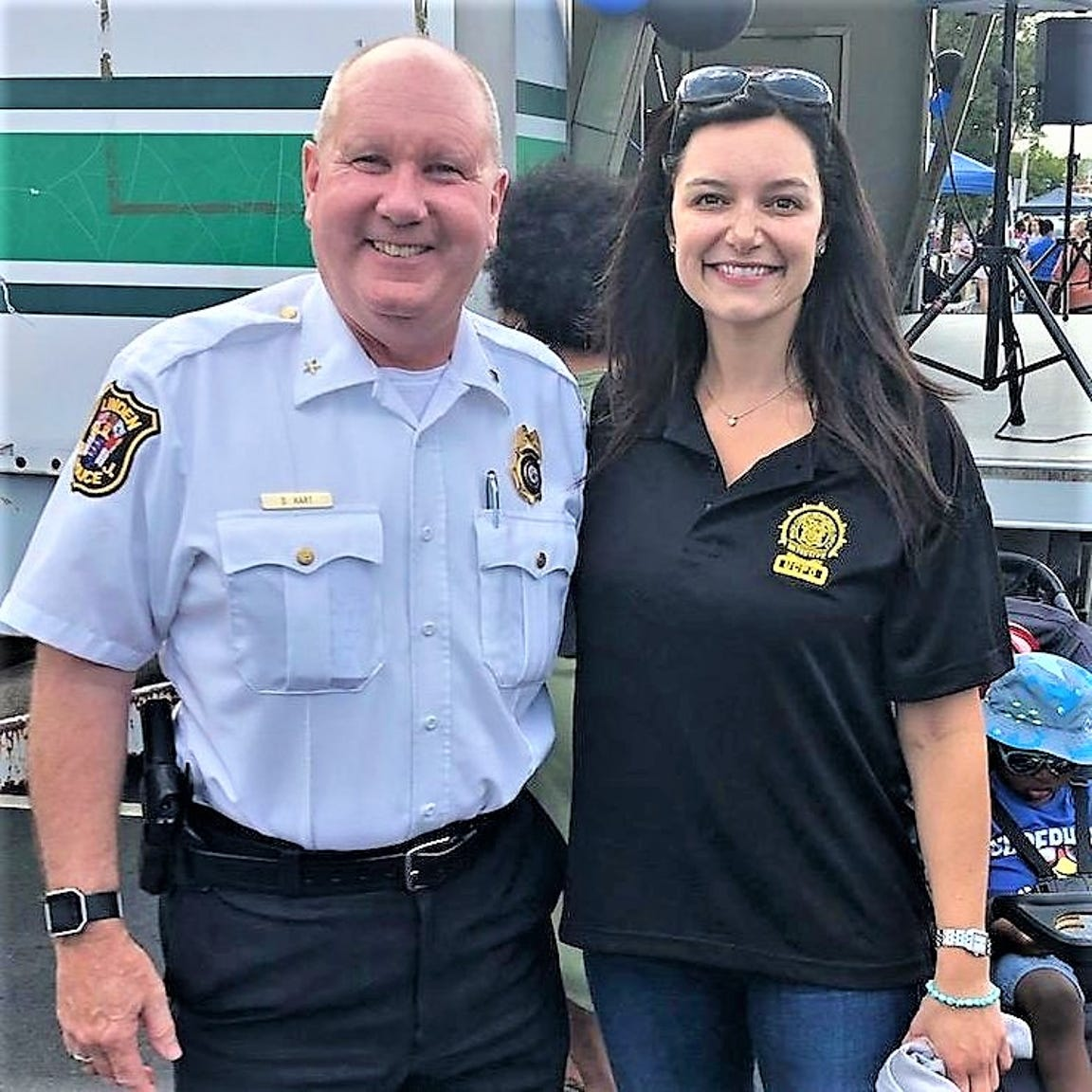 Linden Police Chief David Hart and acting Union County Prosecutor Lyndsay Ruotolo at National Night Out.