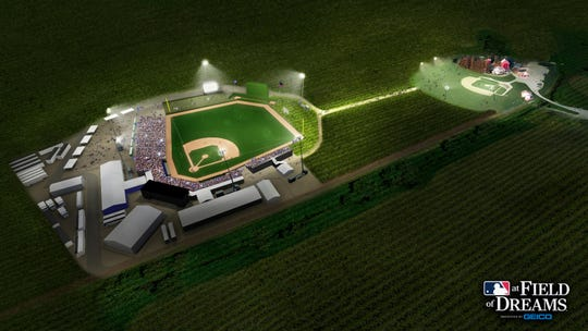 An artist's rendering of the Field of Dreams (right) and the baseball stadium to be built for the Yankees-White Sox game in August 2020.