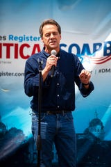 Montana Gov. and 2020 presidential candidate Steve Bullock delivers a speech at the Des Moines Register Political Soapbox on August 8, 2019.
