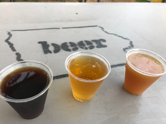 The corn dog ale, funnel cake kolsch and deep-fried apple pie sour ale from the Iowa Craft Beer Tent.