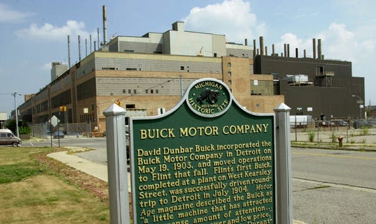 The Buick City assembly plant in Flint, Mich., is shown Monday, July 23, 2001.