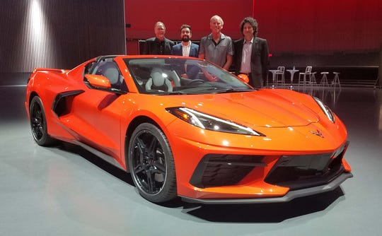 The all-new, 2020 Chevy Corvette Stingray was developed by, from left: Kirk Bennion, exterior designer; Mike Murphy, interior design; Tadge Juechter, chief engineer; Harlan Charles, marketing boss.