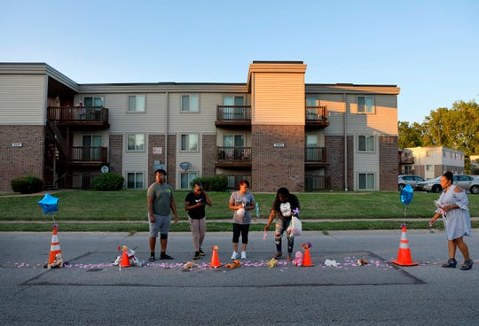 A memorial, where Michael Brown was shot and killed by Ferguson Police officer Darren Wilson, is rebuilt on Canfield Drive in Ferguson, Mo., on Wednesday, Aug. 7, 2019.