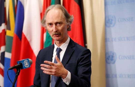 "United Nations Special Envoy for Syria Geir Pedersen is reporting ""solid progress"" following talks with officials in the Syrian capital and says they are ""very close to an agreement"" on establishing a constitutional committee. Geir Pedersen spoke to reporters Wednesday, July 10, 2019, following two meetings with Syrian Foreign Minister Walid Moallem in Damascus."