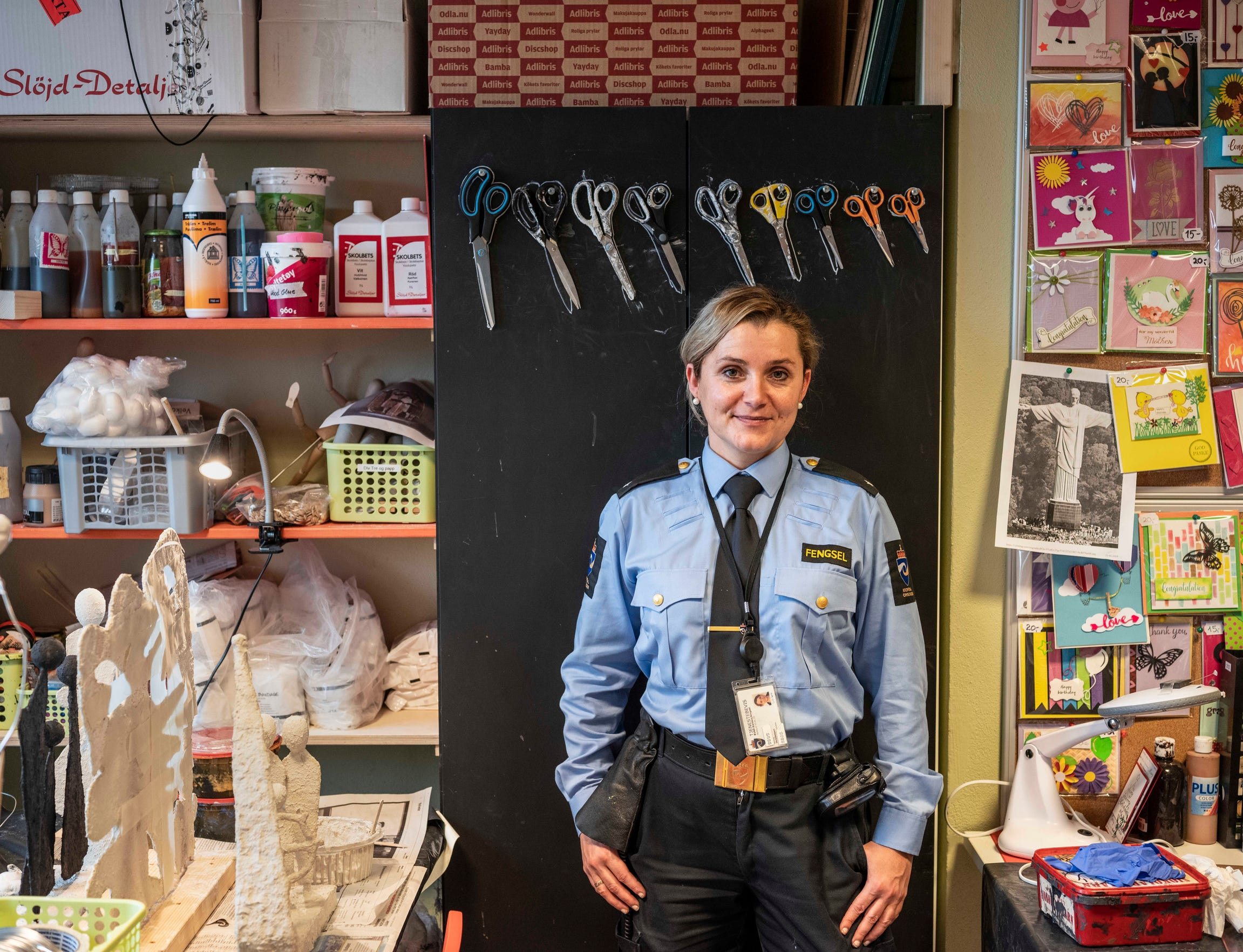 """Vocational Officer Emelie Haale is seen in the crafts studio at Halden Prison in Norway. It's the first activity for new inmates. """"Many will be surprised they can do something positive,"""" Haale said."""
