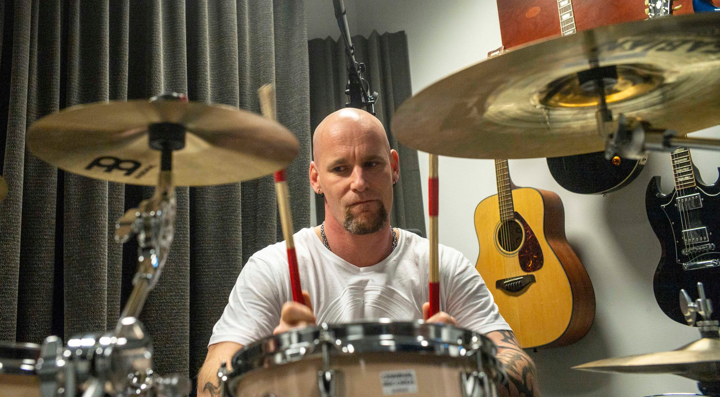 Inmate Mike, who didn't give his last name, plays the drums at Halden Prison in Norway. He's from the Netherlands, and among 40 percent of Halden prisoners who come from foreign countries.