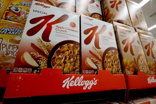 In this Aug. 8, 2018, file photo boxes of Kellogg's Special K cereal sit on display in a market in Pittsburgh.