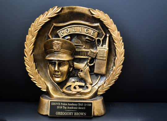 Brown was presented with this award when he graduated as the top cadet from the  EHOVE Police Academy in September.