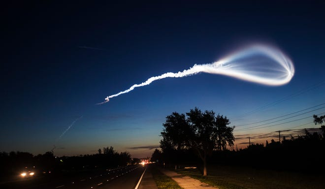 An Atlas V Rocket was launched Thursday morning August 8, 2019 carrying a U.S. Military communications satellite from Cape Canaveral Air Force Station. Photographed from Summerlin Road in South Fort Myers