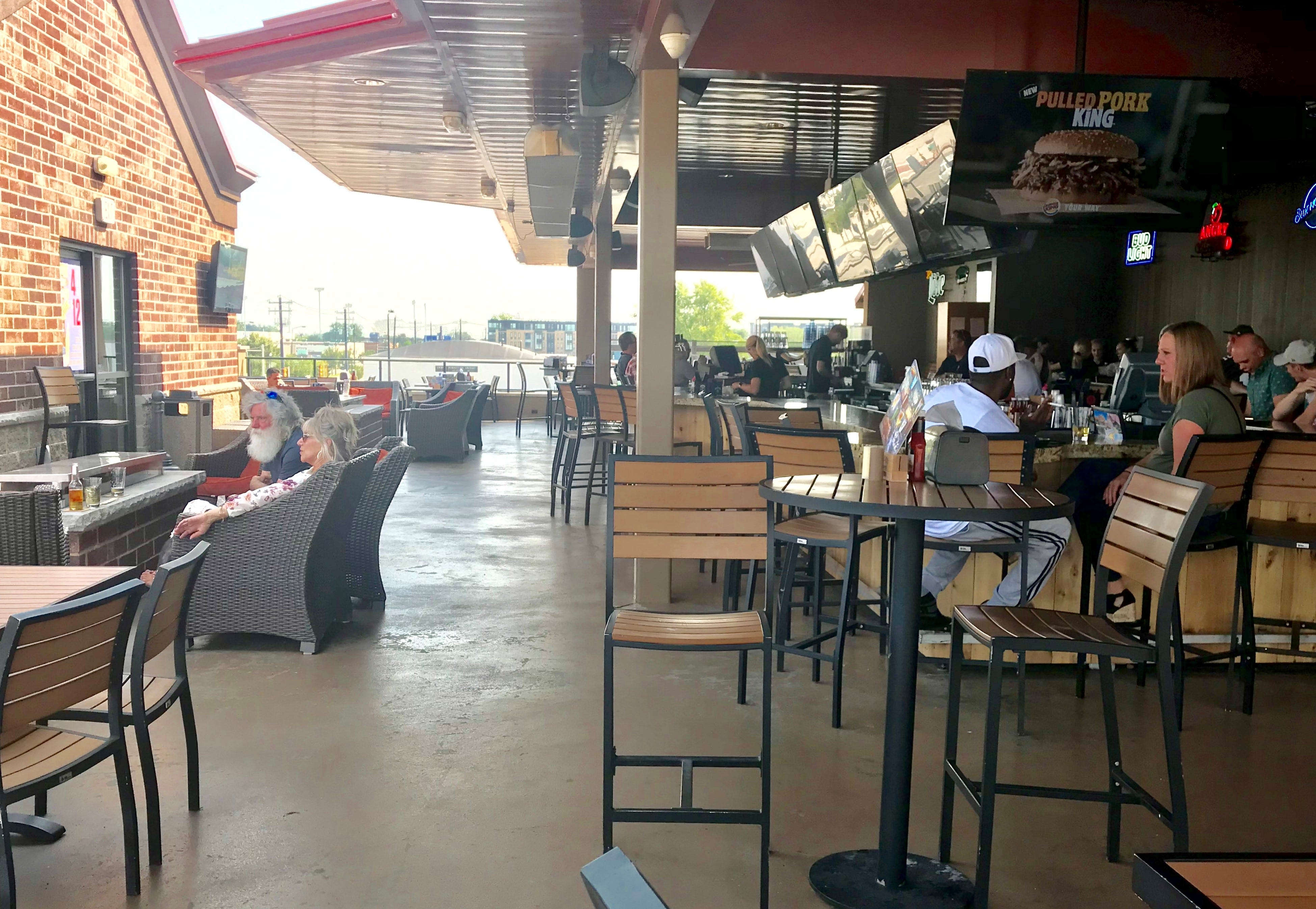 The rooftop bar at Anduzzi's Sports Club, 1992 Holmgren Way, is a popular spot with Packers fans going to Lambeau Field or training camp and also with Resch Center crowds.