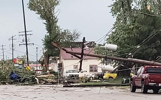 Storm damage is seen Wednesday, Aug. 7, 2019, near East Mason and Cass streets in Green Bay.