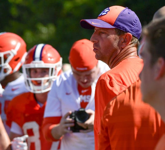 Clemson Head Coach Dabo Swinney during practice at the Allen N. Reeves Football Complex in Clemson Thursday, August 8, 2019.