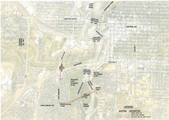 The red lines indicate water main new river crossings under the Missouri and Sun Rivers. The blue lines are existing water main river crossings.