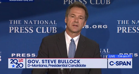 Gov. Steve Bullock speaks Wednesday to the National Press Club and fields questions from reporters.