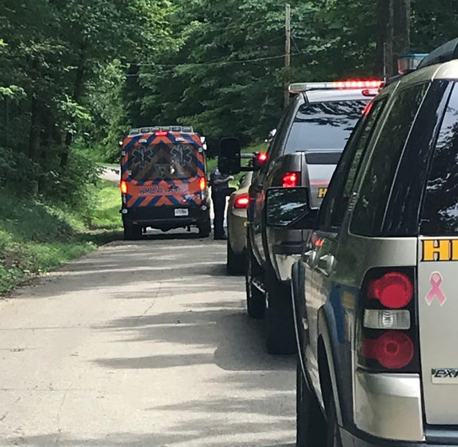 Emergency officials respond to the scene of a fatal accident on South Pleasant Valley Road in the area of Niagara.