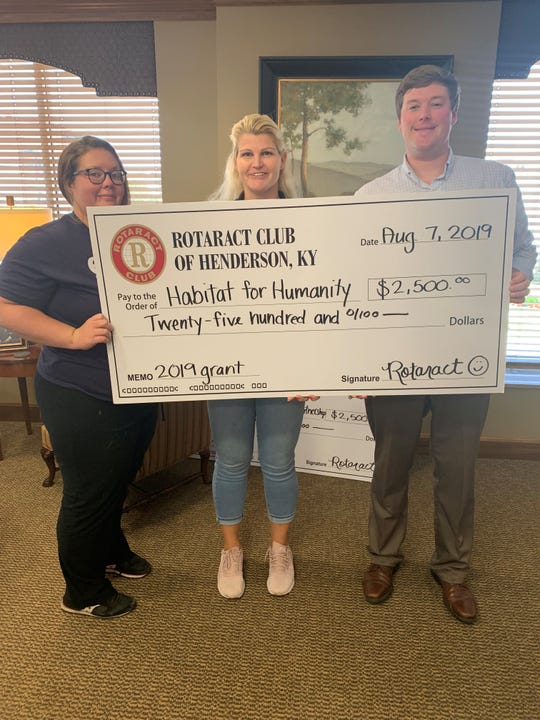 The Habitat for Humanity recieved a $2,500 grant from the Rotaract Club of Henderson.