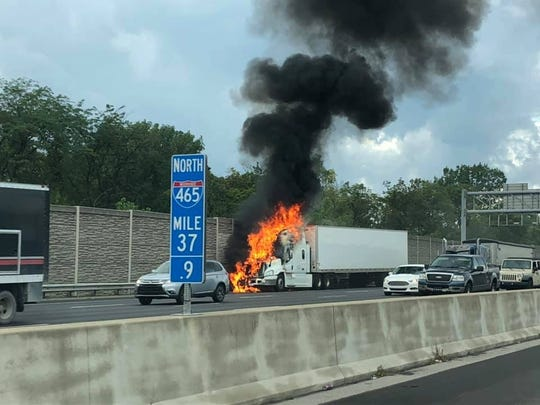 A semi fire caused all lanes of I-465 southbound near I-69 on the northeast side to close Thursday afternoon. Two lanes remained closed as of 5:53 p.m.