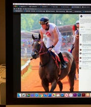 This photo of a computer screen shows jockey Joe Jernigan in a Facebook post.