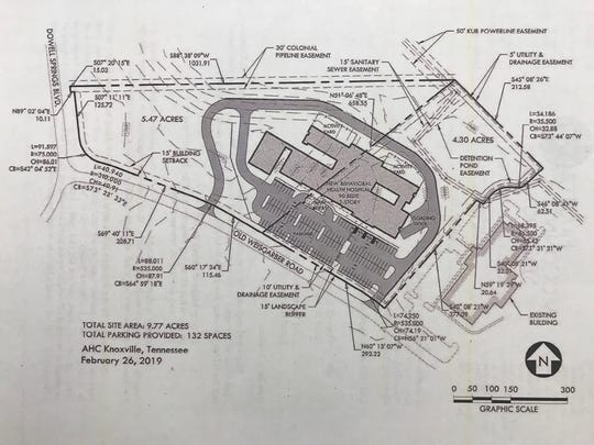 A site plan for Acadia Healthcare's proposed new psychiatric hospital on Old Weisgarber Road.