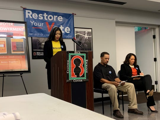 One Knox Legacy Coalition co-founder Christina Thompson talks about voting right restoration at a press conference on July 17, 2019.