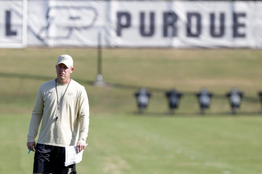 Purdue head coach Jeff Brohm watches a drill during practice, Thursday, Aug. 8, 2019 at Bimel Practice Complex in West Lafayette.