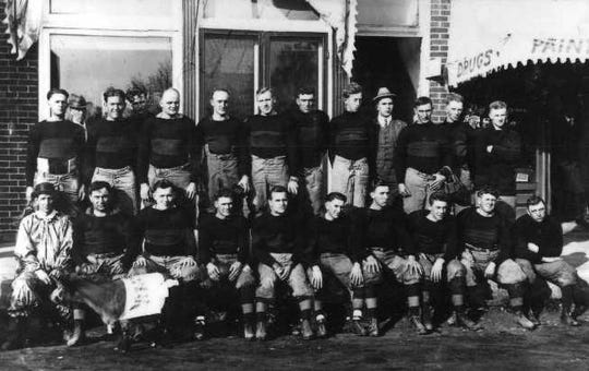 The Pine Village professional football team in 1915. Pine Village will hold a vintage football game to celebrate its pro football history on August 10, 2019.