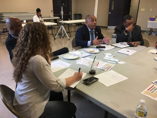"Representative Vincent Pierre talks in one of the groups discussing African American issues at the ""Show Up and Share Your Vision"" event in Lafayette, held by Urban League of Louisiana and Louisiana Legislative Black Caucus."