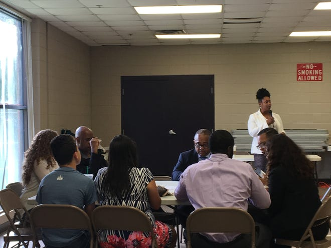 Judy Reese Morse, president and CEO of Urban League of Louisiana, speaks to the groups before discussions start Tuesday evening at George Dupuis Recreation Center.