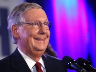 U.S. Sen. Mitch McConnell addresses supporters at a victory celebration at the Marriott East hotel in eastern Jefferson County. McConnell handily won his sixth senate term. Nov. 4, 2014.