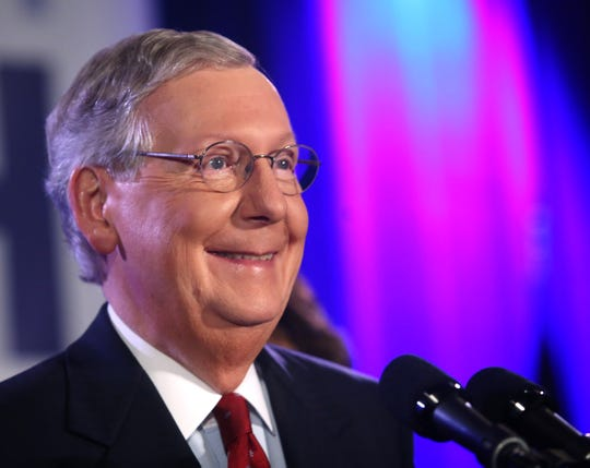 U.S. Sen. Mitch McConnell addresses supporters at a victory celebration at the Marriott East hotel in eastern Jefferson County after he handily won his sixth senate term. Nov. 4, 2014.