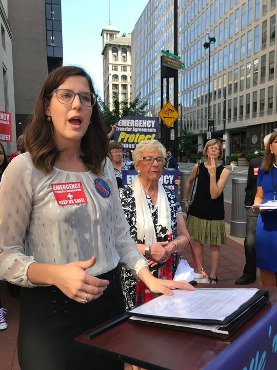 Meg Wittman, executive director of Cincinnati Right to Life, left, with Margie Montgomery, executive director of Kentucky Right to Life, speaks outside the federal courthouse in Cincinnati on Thursday. Aug. 8, 2019