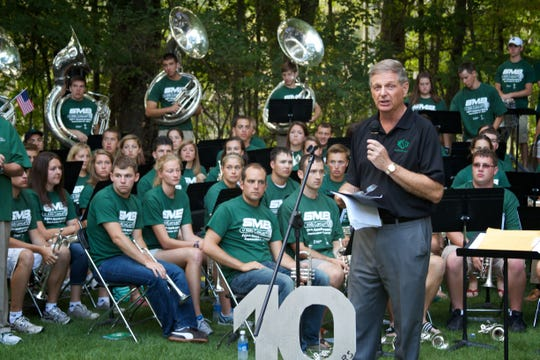 Tim Staudt hosts an annual fundraiser at his home that features Michigan State's Spartan Marching Band. Proceeds benefit the Sparrow Hospital Foundation.