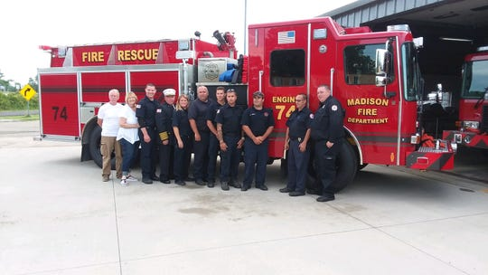 The Madison Township Fire Department dedicated two new tanker-pumper trucks on Monday evening.