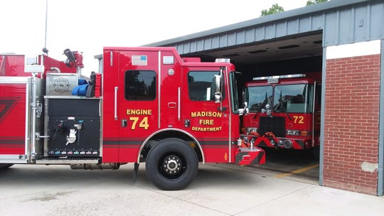The new tanker-pumper trucks were built by HME Ahrens-Fox in Wyoming, Michigan.