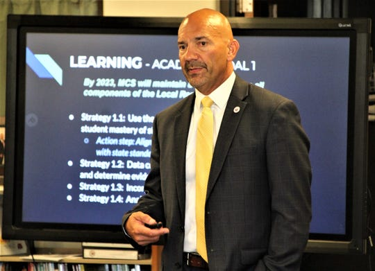 Marion City Schools Superintendent Ronald Iarussi shares details of the district's updated strategic plan during last Monday's board of education meeting. Updates included redefining the district's Four Pillars.