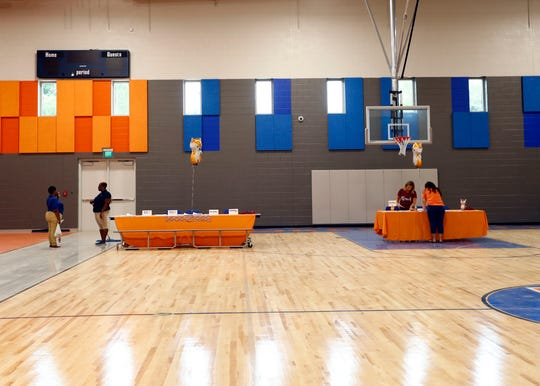 The gymnasium at the new Forest Hill Elementary School in Germantown was designed to be used by the school's students and by community members.