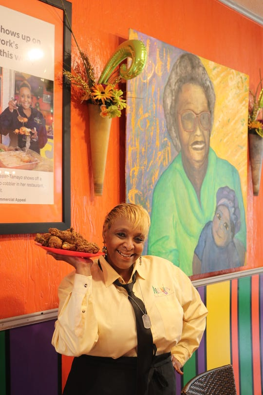 BJ Chester-Tamayo at her soul food restaurant Alcenia's.