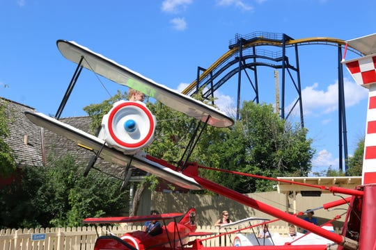 Red Baron, in Hometown Park at Great America, lets kids control how high their airplane flies.