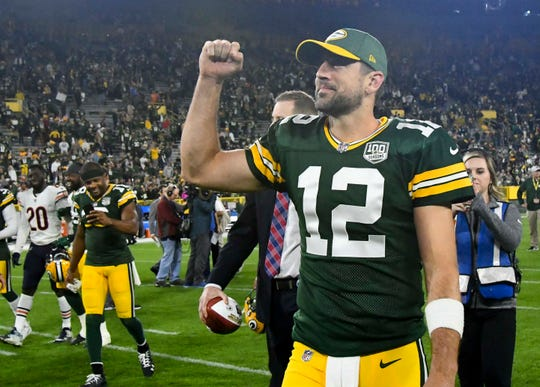 Sep 9, 2018; Green Bay, WI, USA;  Green Bay Packers quarterback Aaron Rodgers (12) celebrates after beating the Chicago Bears at Lambeau Field. Mandatory Credit: Benny Sieu-USA TODAY Sports