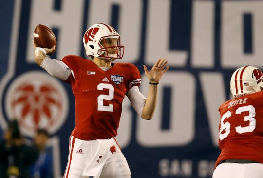 Joel Stave passes the ball during the first quarter against USC during the Holiday Bowl at Qualcomm Stadium in 2015.