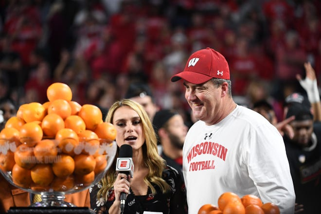 UW head coach Paul Chryst is interviewed after his team's victory over the Miami Hurricanes in the 2017 Capital One Orange Bowl. It was one of Wisconsin's most memorable games under Chryst.