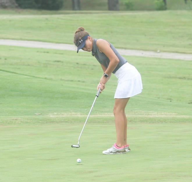 Mountain Home's Sydney Czanstkowski watches her putt go in the hole Thursday at Paragould.