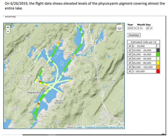 Maps released by the New Jersey Department of Environmental Protection show reduced levels of cyanobacteria in the Byram Cove area of northwest Lake Hopatcong. August 8, 2019.